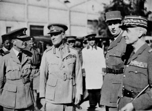 Allied leaders meet in Syria. Left to right: Air Chief Marshal Longmore, General Wavell, General de Gaulle, General Catroux.